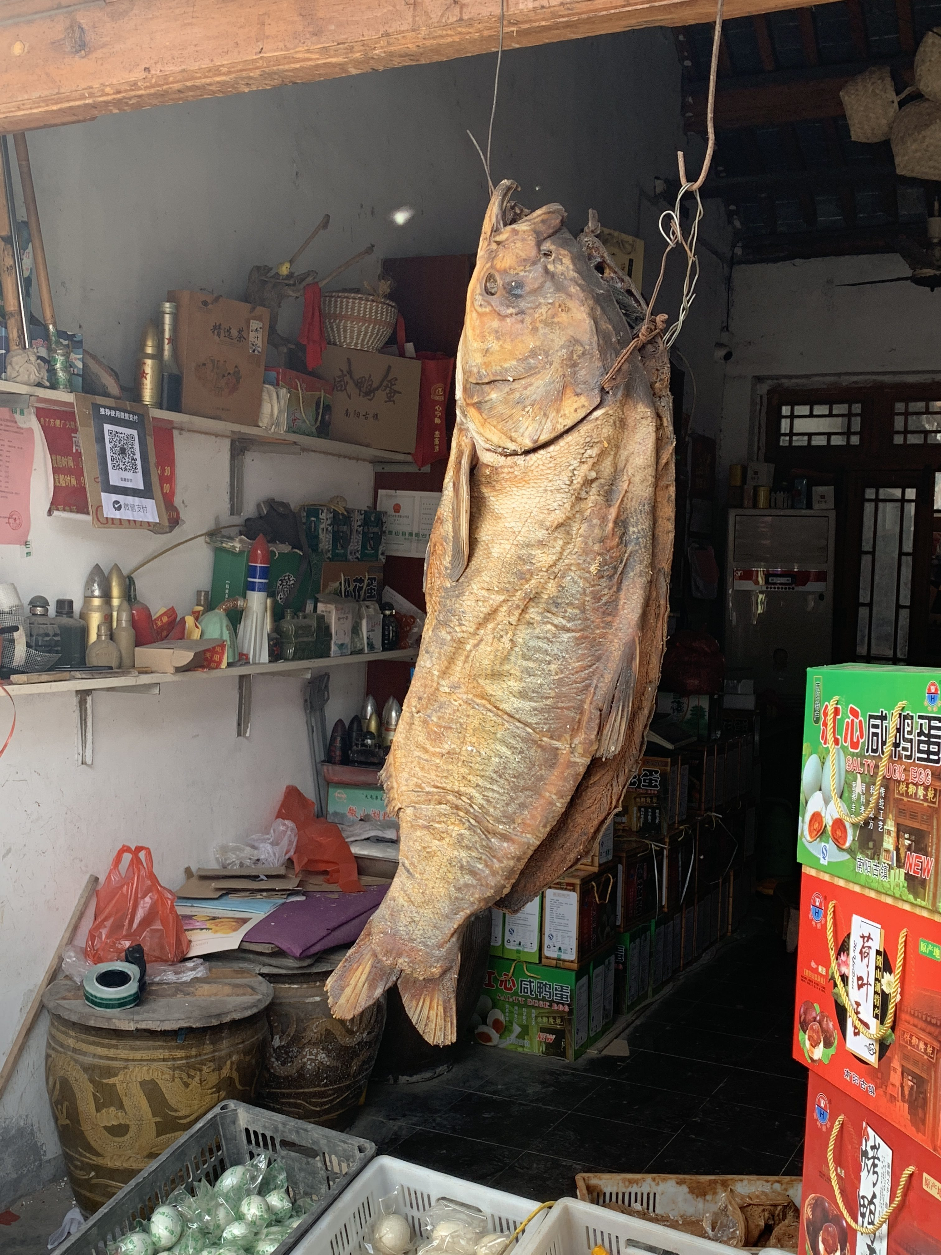 Shandong fish hanging from beam on store
